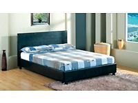 *-*SAME DAY DROP*-* DOUBLE/KING LEATHER BED FRAME WITH 10 INCH THICK AMBASSADOR ORTHOPEDIC MATTRESS