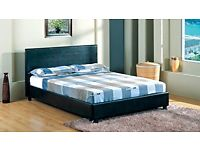 BRAND NEW FAUX LEATHER DOUBLE BED FRAME WITH SEMI ORTHOPEDIC MATTRESS DOUBLE/SINGLE