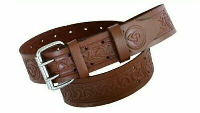 Scaffolding Brown Black Celtic Embossed Leather Tool Belt Easy Fit 4tools Holder