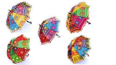 Indio Parasol Lote De 10 Piezas Deco Rajasthan Paraguas Espejo Trabajo Lote