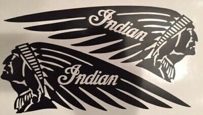 """MATTE BLACK Indian 4.5"""" x 12"""" Motorcycle Tank Decal Sticker Scout Chief L & R"""