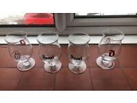 4 x duvel beer glasses tulip style