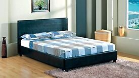 """❤-Jet Black/Coffee Brown-❤ New Double Leather Bed With 9"""" Deep Quilt Mattress """"Same Day Free Dlvry"""""""