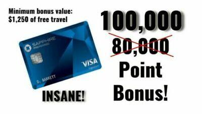 100, 000 Points *$125 BONUS* Chase Sapphire Preferred 100K Credit Card Referral