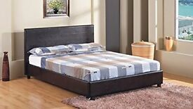 "4FT 6"" Double Faux Leather Bed Frame in Black Prado (NEW AND UNUSED - IN BOX)"