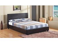 """4FT 6"""" Double Faux Leather Bed Frame in Black Prado (NEW AND UNUSED - IN BOX)"""