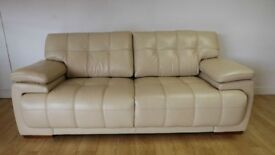 Designer infinity beige leather 3 seater + 2 seater sofas (49) £899