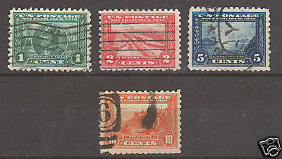 US Sc 401-404 used 1915 Panama Pacific Expo cplt, F-VF