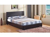 4FT SMALL DOUBLE OR 4FT 6 DOUBLE LEATHER BED WITH 9INCH DEEP QUILT MATTRESS = FREE LONDON DROP