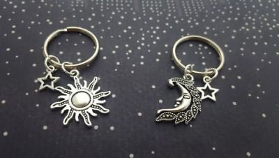 2pcs My Moon and Sun Star Keychain Set Pair Couples Best Friend His Hers