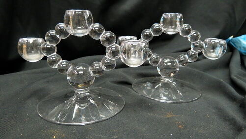 pair vintage Imperial Candlewick candle holders / 3 crystal balls keyhole middle