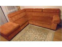 Left Hand Corner Sofa-Bed with Storage Ottoman