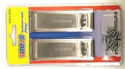 (2 pc Cabinet Gate Door Silver Metal Latch Hasp Padlock Staple Set Security Lock)
