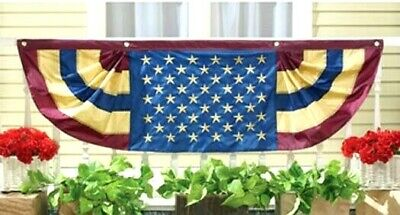 VINTAGE PATRIOTIC 4th of JULY DECOR AMERICAN FLAG BUNTING BANNER 60