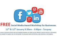 FREE LOCAL SOCIAL MEDIA WORKSHOP FOR BUSINESSES - 11TH & 12TH JAN - FEBRUARY/MARCH DATES ALSO