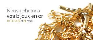 Achetons Or/Buy gold 10K/14K/18K/21K/22K/24K (briser ou non) $$$