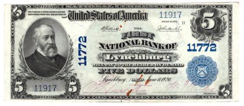 1902 BS $5 The First NB of Lynchburg, Ohio. Ch 11772. VF/rust. Y00005843