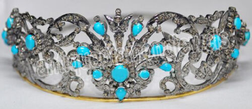 10.70ct Rose Cut Diamond Antique Look 925 Silver Wedding Turquise Gemstone Tiara