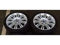 2X 21 inch alloy wheels - Mercedes e class wheels with tyres. Scrap/spares or repairs?