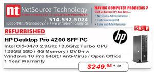 Ordinateur HP 4200 Pro SFF Ci5-3470 2.9G / MEM 4G / SSD 128G