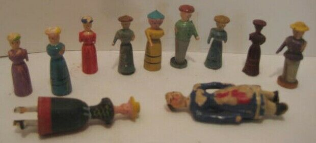 Old Collection of Carved Wood German Erzgebirge Christmas Village People - as is