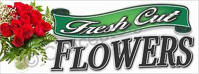 3'x8' FRESH CUT FLOWERS BANNER LARGE Outdoor Sign Roses Florist Shops Bouquets