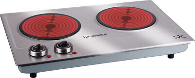 Cocina electrica vitroceramica 2 placas JATA V532, 2 x 1200W