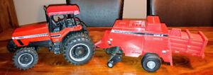 Tracteur roues doubles avec moissonneuse batteuse