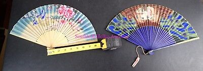 LOT OF 2 VINTAGE HAND PAINTED FANS JAPAN CHINA BIRDS FLOWERS VICTORIAN PAINTING+