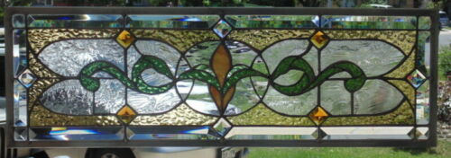 Stained Glass Transom window hanging 23 1/4 X 9