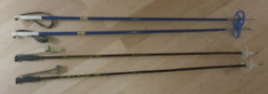 3 pairs older cross-country skis $ 5 ea, poles $ 3 ea