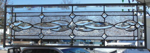 Stained Glass Transom window hanging 32 X 10 1/2 incl hooks