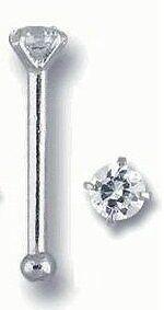 Bone White Gold Nose Bone (14K White Gold Nose Bone Ring 1.5mm Real Diamond)
