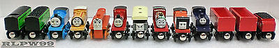LOT OF 13 VINTAGE WOODEN THOMAS THE TRAIN CARS AND ENGINES L@@K