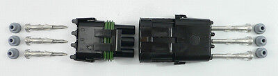 PER-045 Weather Pack Connector 3 Pin Kit 14-16 Gauge Weathertight Seal Sealed