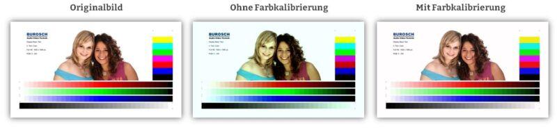 Bildvergleich Originalbild, Bild mit und ohne Farbkalibrierung der Farbtemperatur und des Farbraums