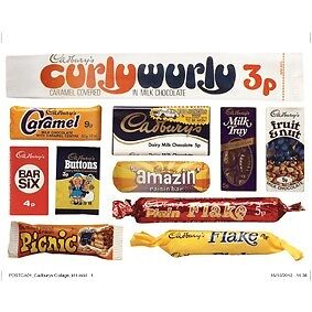 NEW 1970S CADBURYS WRAPPERS RETRO POSTCARD OFFICIAL VINTAGE IMAGE OPIE CHOCOLATE