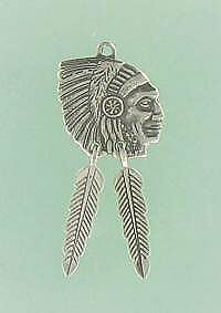 Sterling Silver INDIAN PENDANT CHARM, MOVABLE