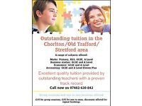 Outstanding tuition in Old Trafford/ Chorlton/ Stretford/ surrounding areas