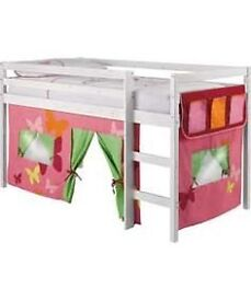 Shorty Midsleeper Bed Frame (used) -Whitewashed pine -with pink curtains under the bed