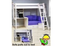 Thuka Trendy Highsleeper Children's bed with built-in desk, shelving and chair bed