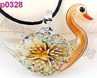 Lifelike Swan Flower art lampwork glass pendant