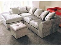 Crushed silver corner sofa (delivery available