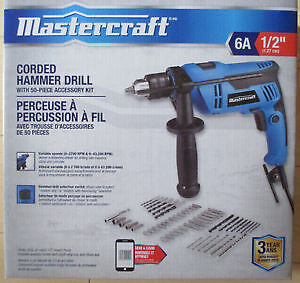 Brand New Mastercraft 6 amp Hammer Drill with 50 Piece Drill Bit