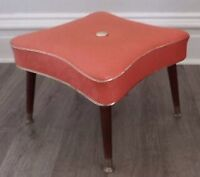 SPACE AGE Foot Stool Ottoman CORAL Vinyl Antique Vintage