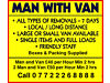 Man and Van Hire Rental Moving House Flat Removals Van Driver Cumbria