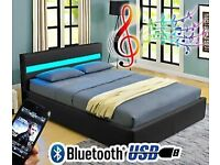 """BOXED AS NEW! LED MUSIC BED! 4'6"""" DOUBLE GASLIFT OTTOMAN"""