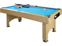 6ft Pool Table with all accessories + wood topper to convert into dining table