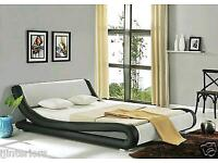 AMARI MODERN DESIGNER KING SIZE LEATHER BED WITH SPRING MATTRESS