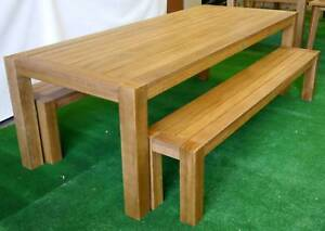 New 2400 Chunky Timber Outdoor Furniture 3 Pc Table Bench Seats